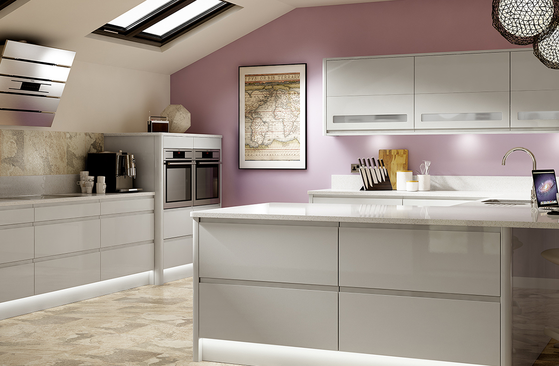 Holborn Gloss Kitchen Range Benchmarx Kitchens Joinery - Light grey kitchen units