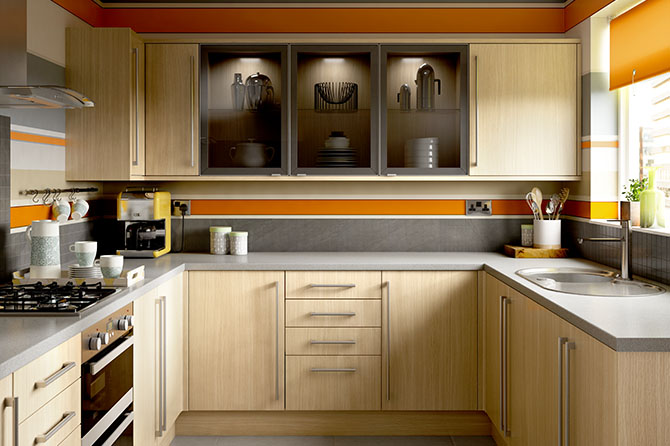 slab style light oak kitchens options range benchmarx kitchens