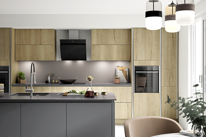 Richmond Oak True Handleless Kitchen Range